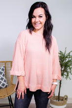 Load image into Gallery viewer, Camille Waffle Knit Rolled Sleeve Top in Rose - Onyx & Oak Boutique