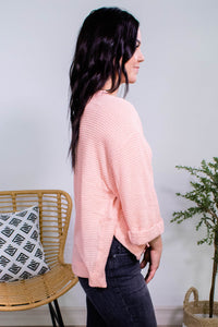 Camille Waffle Knit Rolled Sleeve Top in Rose - Onyx & Oak Boutique