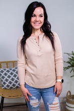 Load image into Gallery viewer, Keep it up Buttercup Henley in Oatmeal - Onyx & Oak Boutique