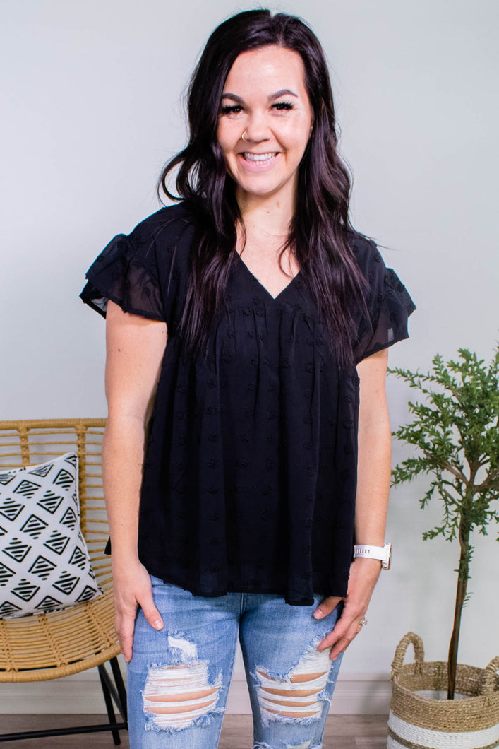 Pom Pom Babydoll Top in Black - Onyx & Oak Boutique