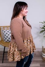 Load image into Gallery viewer, Fauna Spotted Babydoll Top in Camel - Onyx & Oak Boutique