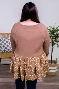 Fauna Spotted Babydoll Top in Camel - Onyx & Oak Boutique