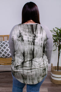Shelby Olive Tie Dye and Stripe Sleeve Top - Onyx & Oak Boutique