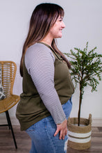 Load image into Gallery viewer, Caroline Olive Waffle Knit and Stripe Sleeve Top - Onyx & Oak Boutique