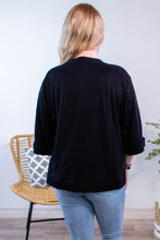 Load image into Gallery viewer, Ribbed Rolled Sleeve Top in Black - Onyx & Oak Boutique