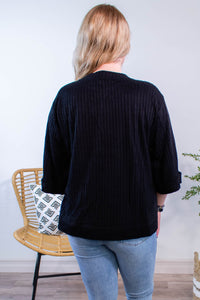 Ribbed Rolled Sleeve Top in Black - Onyx & Oak Boutique