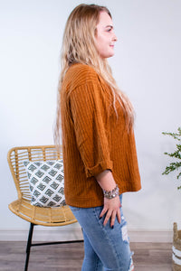 Ribbed Rolled Sleeve Top in Camel - Onyx & Oak Boutique