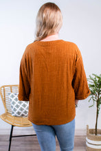 Load image into Gallery viewer, Ribbed Rolled Sleeve Top in Camel - Onyx & Oak Boutique