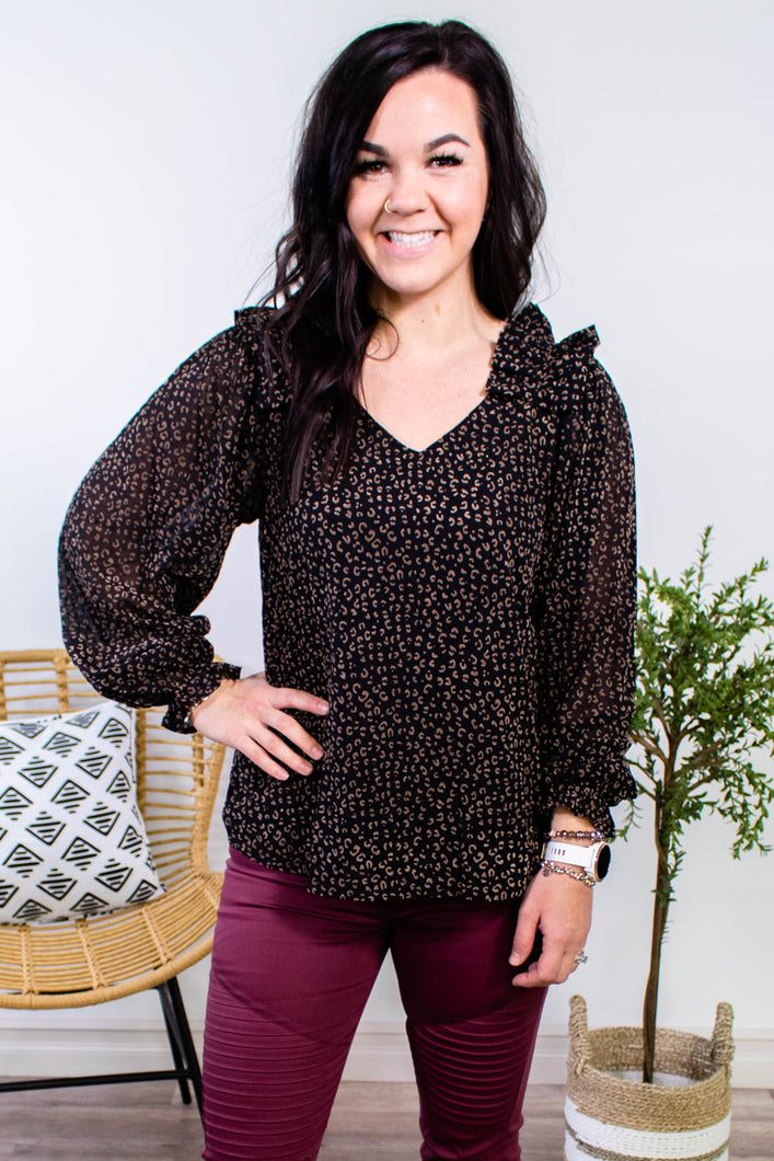 Night Moves Ruffle Shoulder Leopard Top - Onyx & Oak Boutique