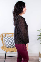 Load image into Gallery viewer, Night Moves Ruffle Shoulder Leopard Top - Onyx & Oak Boutique