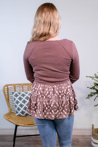 Fauna Spotted Babydoll Top in Mauve - Onyx & Oak Boutique
