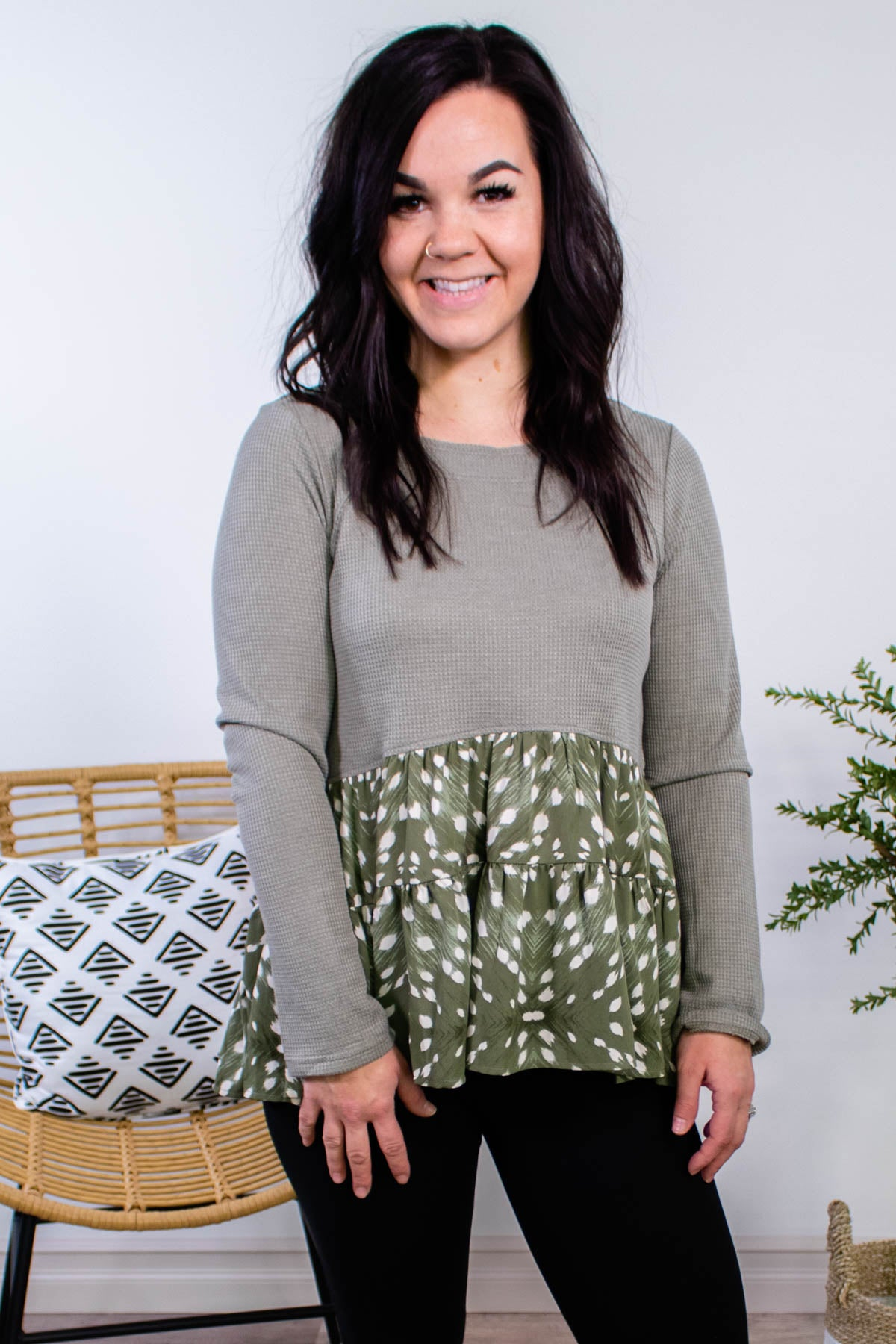 Fauna Spotted Babydoll Top in Olive - Onyx & Oak Boutique