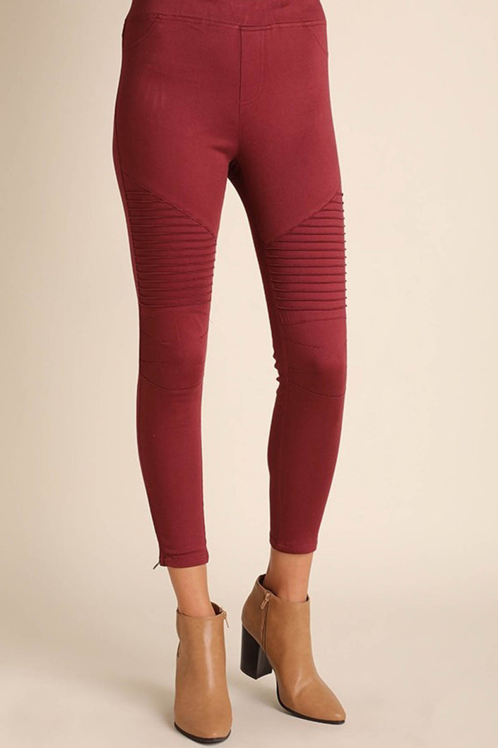 Moto Jeggings in Wine - Onyx & Oak Boutique