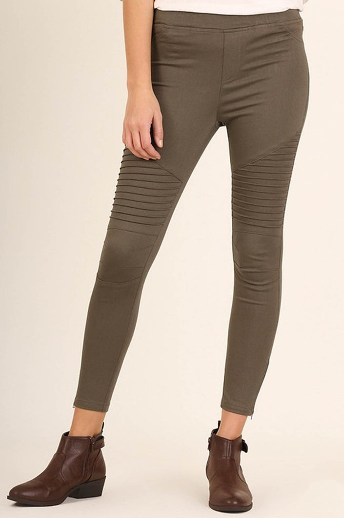 Moto Jeggings in Olive - Onyx & Oak Boutique