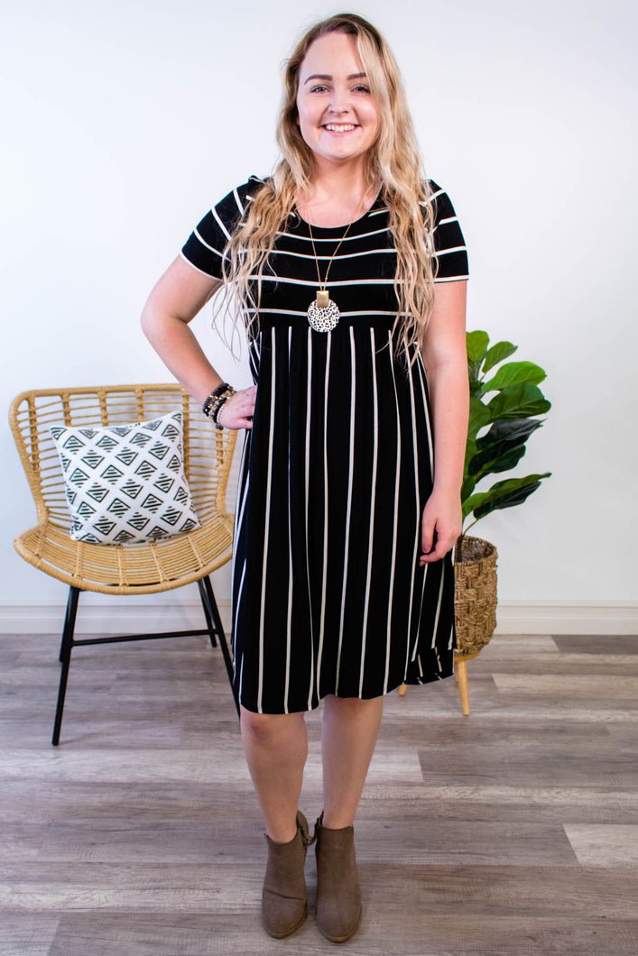 Bella Black Striped Dress - Onyx & Oak Boutique