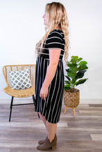 Load image into Gallery viewer, Bella Black Striped Dress - Onyx & Oak Boutique