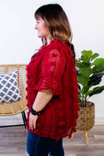Load image into Gallery viewer, Lottie Dotted Swiss Top in Burgundy - Onyx & Oak Boutique
