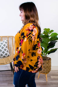 Maybe it's You Mustard Floral Tie Top - Onyx & Oak Boutique
