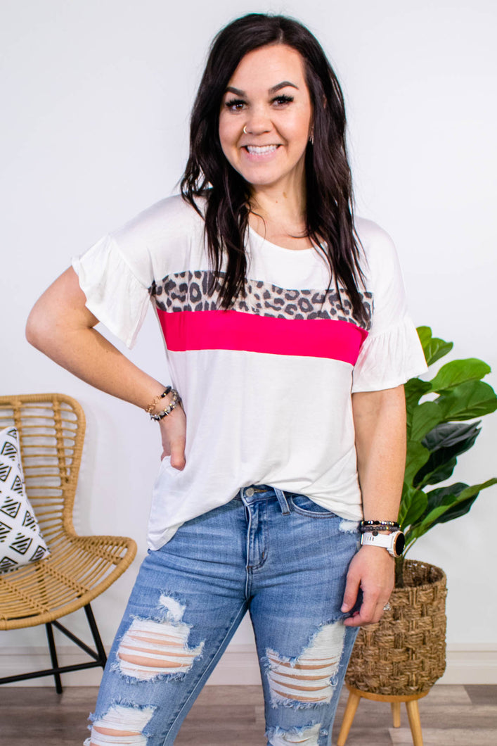 Stay Sassy Ivory Colorblock Top - Onyx & Oak Boutique