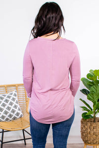 Essential V-Neck Long Sleeve in Rose - Onyx & Oak Boutique