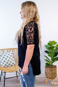 Bree Lace Shoulder Top in Black - Onyx & Oak Boutique