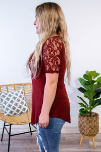 Lilly Lace Half Sleeve Top in Fired Brick - Onyx & Oak Boutique
