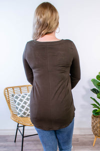 Essential V-Neck Long Sleeve in Olive - Onyx & Oak Boutique