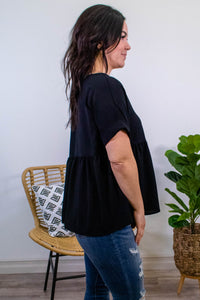 Marigold Babydoll Top in Black - Onyx & Oak Boutique