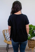 Load image into Gallery viewer, Marigold Babydoll Top in Black - Onyx & Oak Boutique