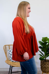 Marina Long Sleeve Blouse in Brick - Onyx & Oak Boutique