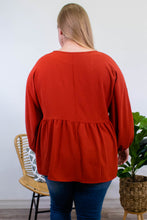 Load image into Gallery viewer, Marina Long Sleeve Blouse in Brick - Onyx & Oak Boutique