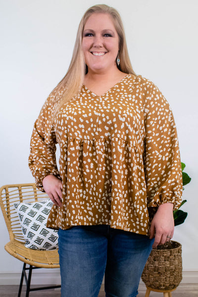 Spotted Long Sleeve Blouse in Camel - Onyx & Oak Boutique
