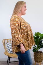 Load image into Gallery viewer, Spotted Long Sleeve Blouse in Camel - Onyx & Oak Boutique