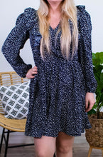 Load image into Gallery viewer, Leopard & Ruffles Dress in Navy - Onyx & Oak Boutique