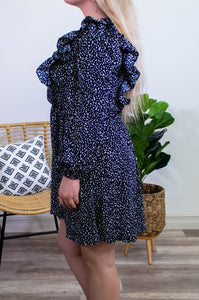 Leopard & Ruffles Dress in Navy - Onyx & Oak Boutique