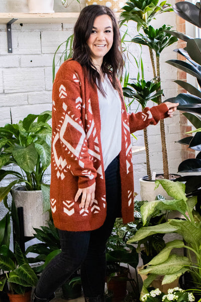 Into the Wild Tribal Print Rust Cardigan - Onyx & Oak Boutique