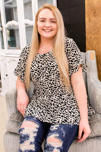 Snow Leopard Tiered Babydoll Top - Onyx & Oak Boutique
