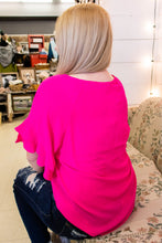 Load image into Gallery viewer, Ruffle Sleeve Blouse in Hot Pink - Onyx & Oak Boutique