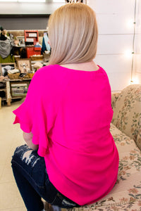 Ruffle Sleeve Blouse in Hot Pink - Onyx & Oak Boutique