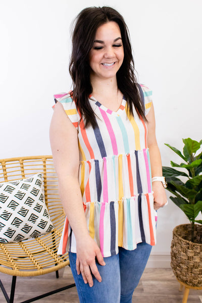 Candy Stripes Tiered Top - Onyx & Oak Boutique