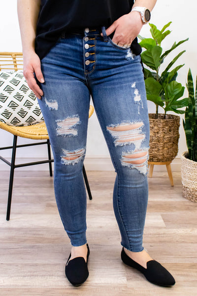 Judy Blue High Waist Button Fly Skinny Jeans - Theresa Wash - Onyx & Oak Boutique