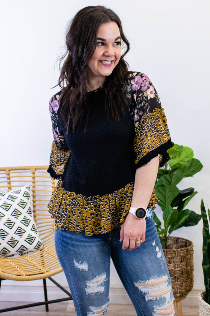 Mixing Patterns Top in Black - Onyx & Oak Boutique