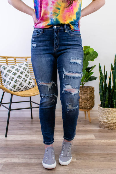Judy Blue High Rise Dark Wash Distressed Boyfriend Jeans - Onyx & Oak Boutique