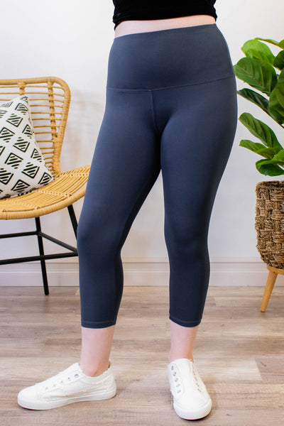 Buttery Soft Charcoal Capri Leggings - Onyx & Oak Boutique