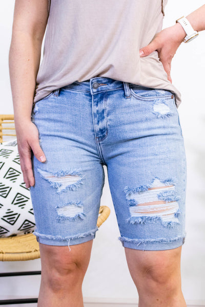 Judy Blue Destroyed Light Wash Bermuda Shorts - Onyx & Oak Boutique