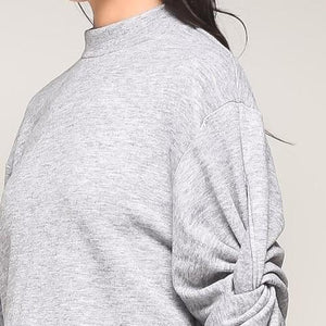 Allie Twist Sleeve Mock Neck Top (Gray)