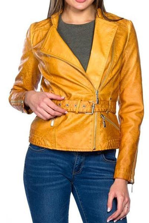 Belted Biker Leather Jacket (Sienna)