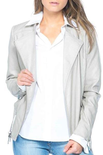 Belted Biker Leather Jacket (Stone)