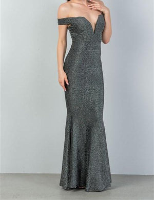 Gunmetal Glitter Mermaid Evening Gown