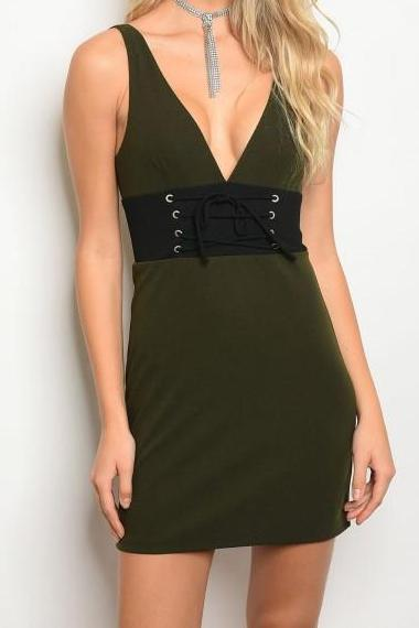Aubree Corset Bodycon Mini Dress (Dark Olive)